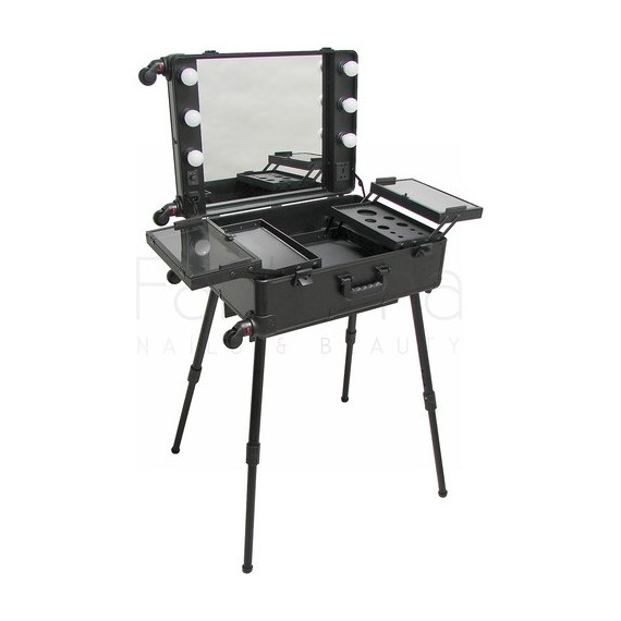 Portable Lighted Make-Up Station with 4 Legs REAL ART Black