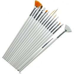 Set of 15 Brushes for Nail Art - White